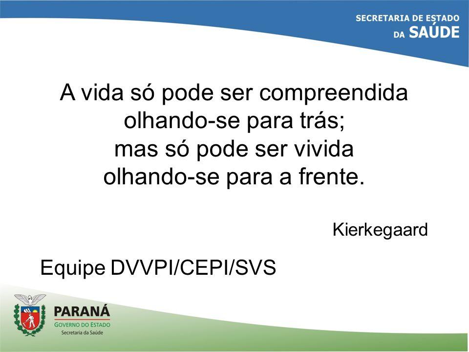 Equipe DVVPI/CEPI/SVS A vida só pode ser compreendida olhando-se para trás; mas só pode ser vivida olhando-se para a frente. Kierkegaard