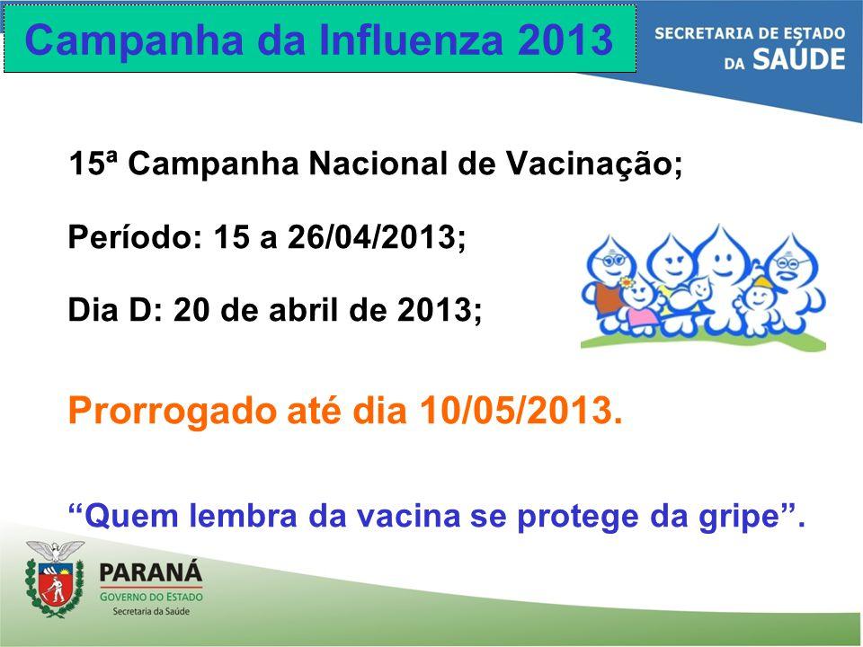Campanha da Influenza 2013 15ª Campanha Nacional de Vacinação; Período: 15 a 26/04/2013; Dia D: 20 de abril de 2013; Prorrogado até dia 10/05/2013. Qu