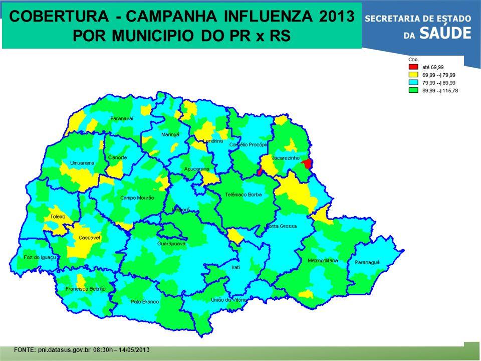 COBERTURA - CAMPANHA INFLUENZA 2013 POR MUNICIPIO DO PR x RS FONTE: pni.datasus.gov.br 08:30h – 14/05/2013