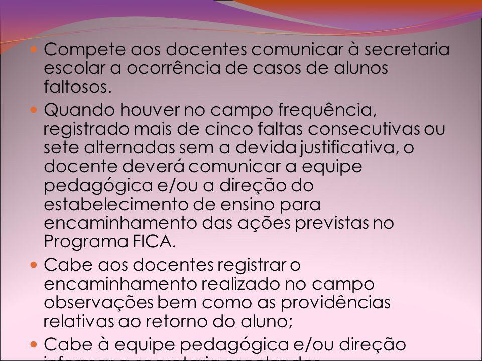 Compete aos docentes comunicar à secretaria escolar a ocorrência de casos de alunos faltosos.