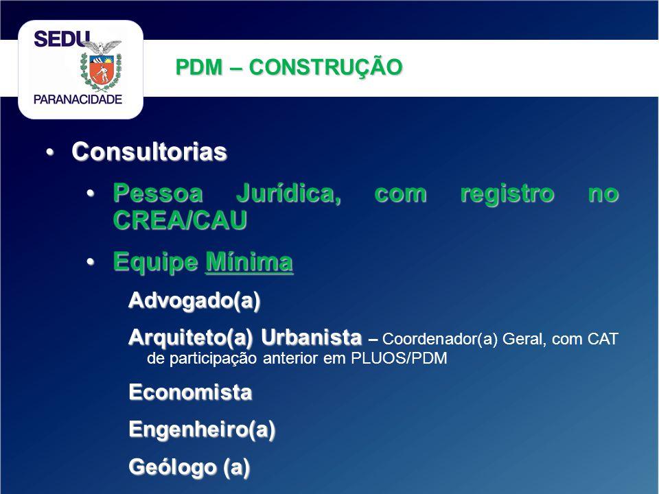 Consultorias Consultorias Pessoa Jurídica, com registro no CREA/CAU Pessoa Jurídica, com registro no CREA/CAU Equipe Mínima Equipe MínimaAdvogado(a) A