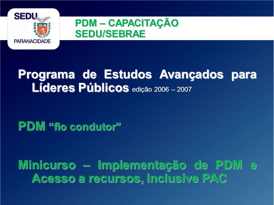 Programa de Estudos Avançados para Líderes Públicos Programa de Estudos Avançados para Líderes Públicos edição 2006 – 2007 PDM fio condutor Minicurso