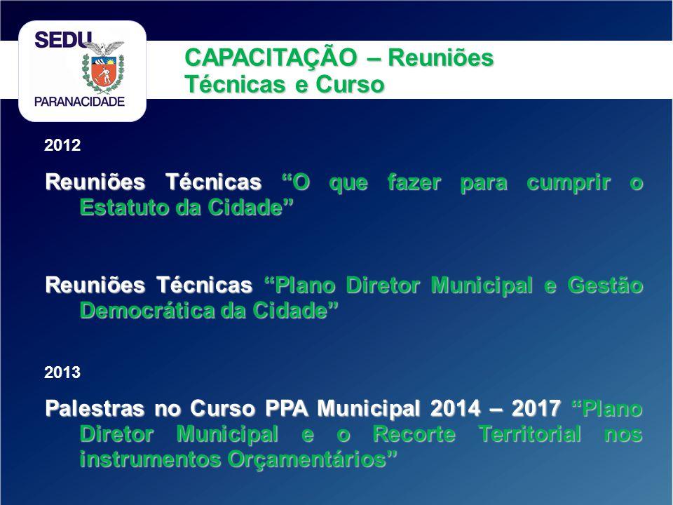 2012 Reuniões Técnicas O que fazer para cumprir o Estatuto da Cidade Reuniões Técnicas Plano Diretor Municipal e Gestão Democrática da Cidade 2013 Pal