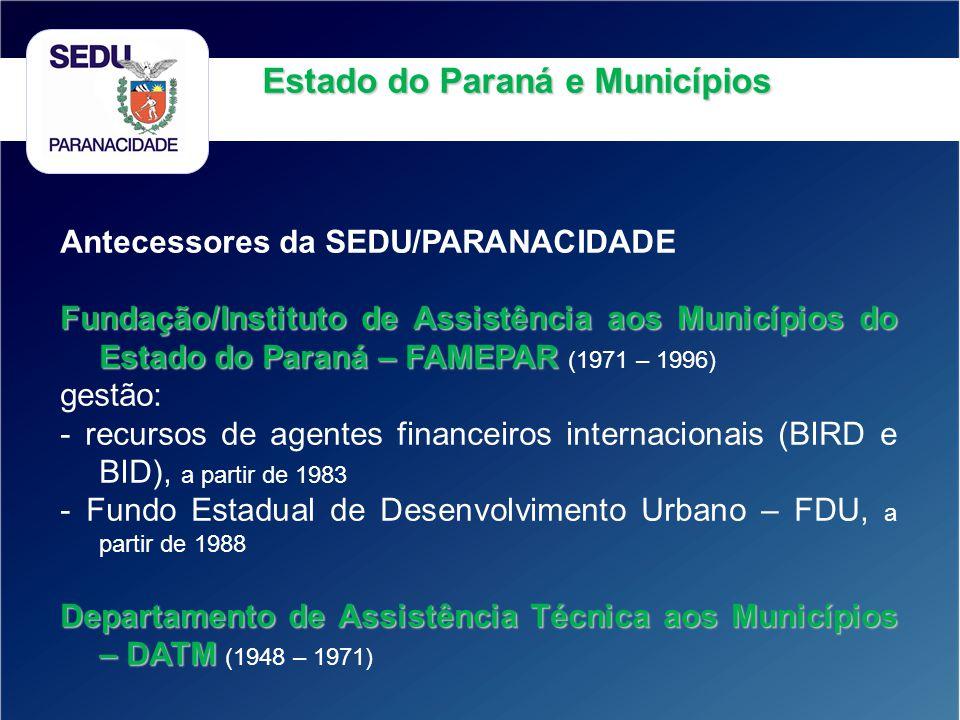 Estado do Paraná e Municípios Antecessores da SEDU/PARANACIDADE Fundação/Instituto de Assistência aos Municípios do Estado do Paraná – FAMEPAR Fundaçã