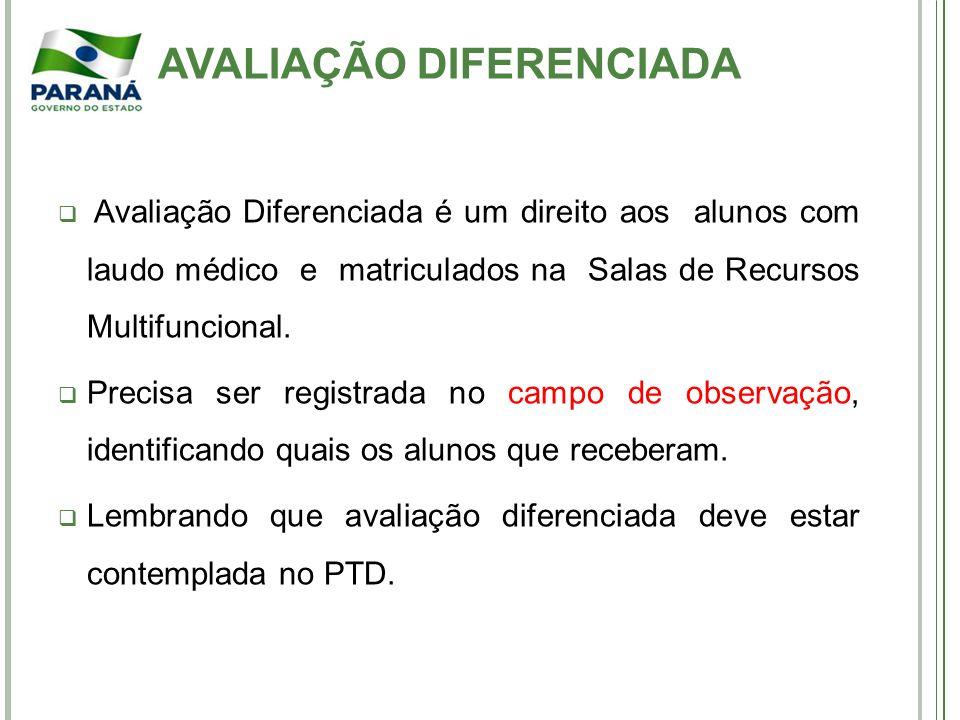 Avaliação Diferenciada é um direito aos alunos com laudo médico e matriculados na Salas de Recursos Multifuncional.