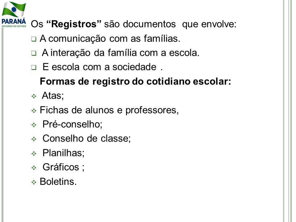 Os Registros são documentos que envolve: A comunicação com as famílias. A interação da família com a escola. E escola com a sociedade. Formas de regis