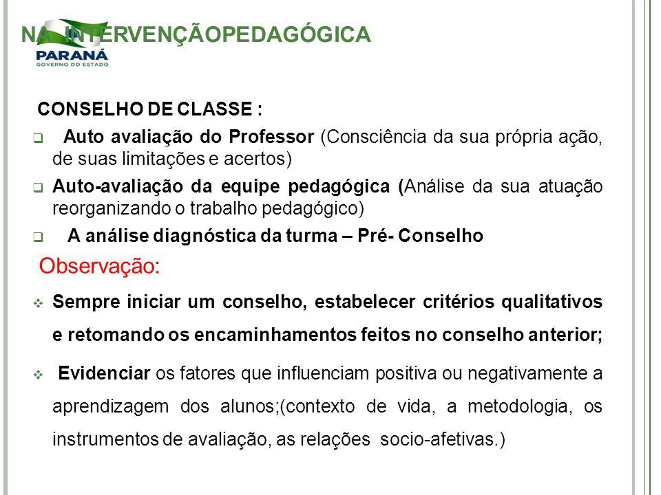 CONSELHO DE CLASSE : Auto avaliação do Professor (Consciência da sua própria ação, de suas limitações e acertos) Auto-avaliação da equipe pedagógica (