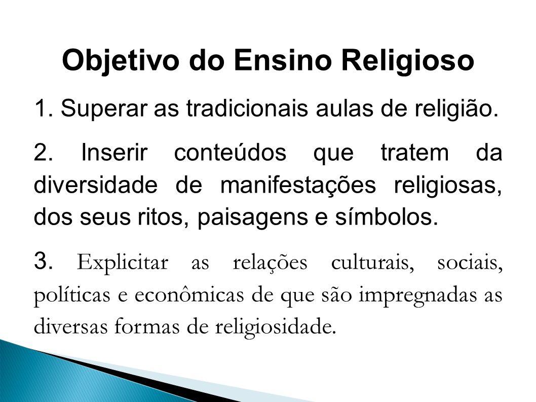 Objetivo do Ensino Religioso 1. Superar as tradicionais aulas de religião.