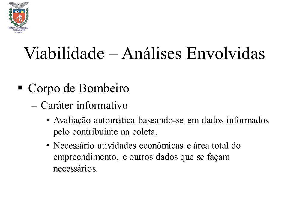 Viabilidade – Análises Envolvidas Corpo de Bombeiro –Caráter informativo Avaliação automática baseando-se em dados informados pelo contribuinte na col