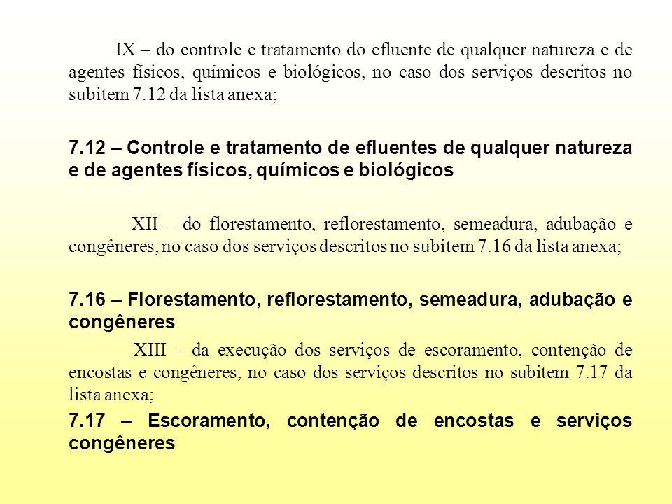 IX – do controle e tratamento do efluente de qualquer natureza e de agentes físicos, químicos e biológicos, no caso dos serviços descritos no subitem