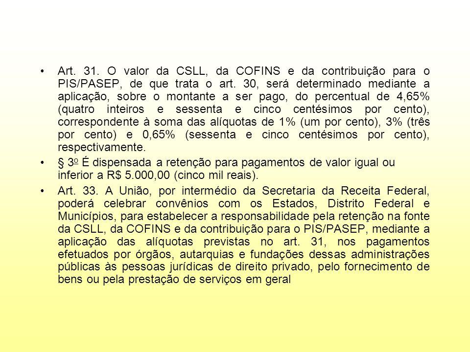 Art. 31. O valor da CSLL, da COFINS e da contribuição para o PIS/PASEP, de que trata o art. 30, será determinado mediante a aplicação, sobre o montant