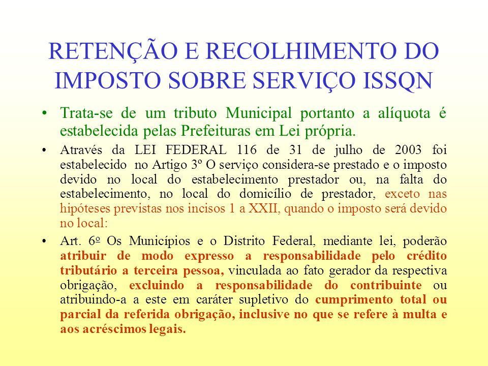 RETENÇÃO E RECOLHIMENTO DO IMPOSTO SOBRE SERVIÇO ISSQN Trata-se de um tributo Municipal portanto a alíquota é estabelecida pelas Prefeituras em Lei pr