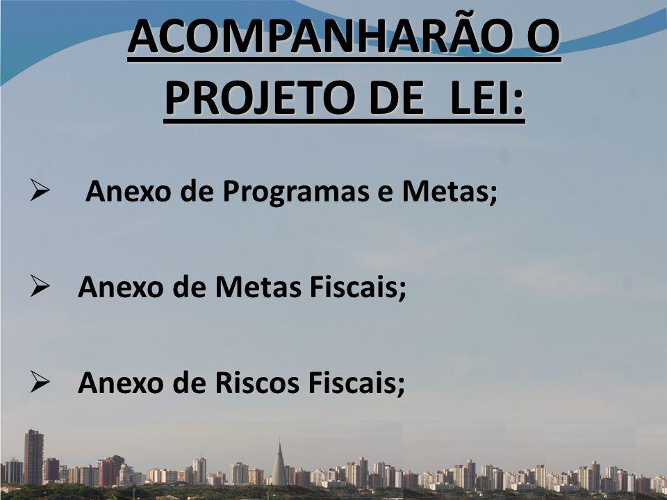 ACOMPANHARÃO O PROJETO DE LEI: Anexo de Programas e Metas; Anexo de Metas Fiscais; Anexo de Riscos Fiscais;