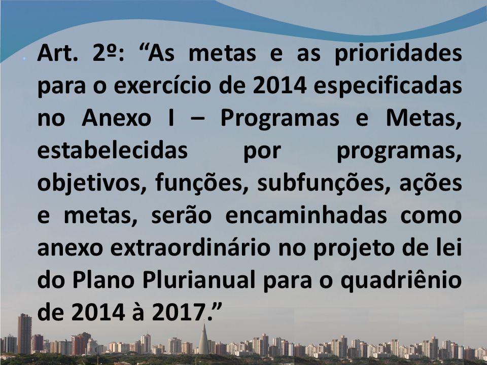 Art. 2º: As metas e as prioridades para o exercício de 2014 especificadas no Anexo I – Programas e Metas, estabelecidas por programas, objetivos, funç