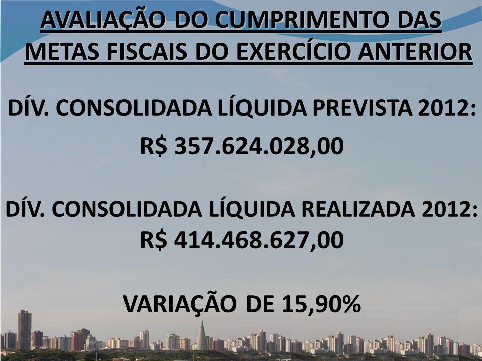 DÍV.CONSOLIDADA LÍQUIDA PREVISTA 2012: R$ 357.624.028,00 DÍV.