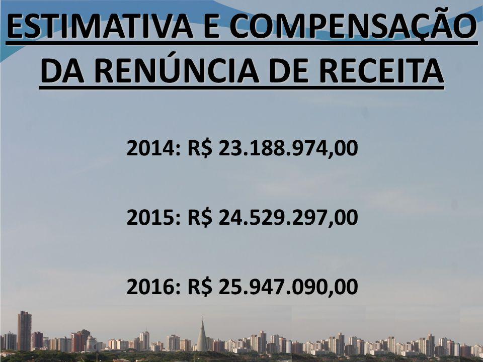 ESTIMATIVA E COMPENSAÇÃO DA RENÚNCIA DE RECEITA 2014: R$ 23.188.974,00 2015: R$ 24.529.297,00 2016: R$ 25.947.090,00