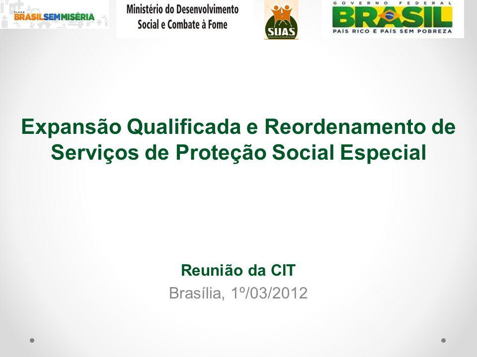 Expansão Qualificada e Reordenamento de Serviços de Proteção Social Especial Reunião da CIT Brasília, 1º/03/2012