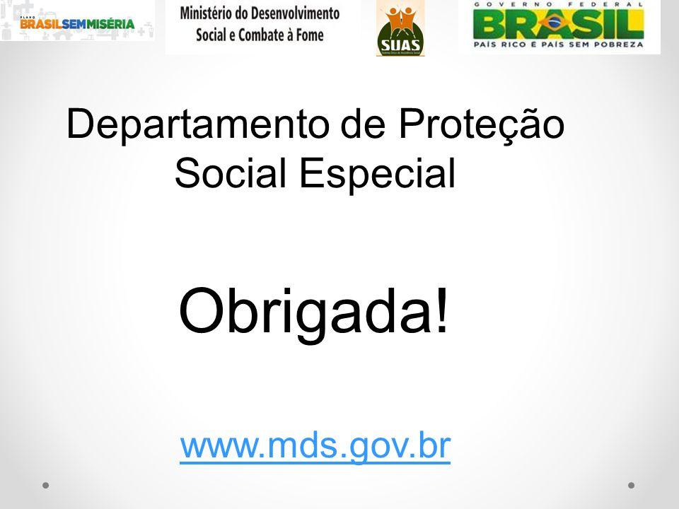 Departamento de Proteção Social Especial Obrigada! www.mds.gov.br