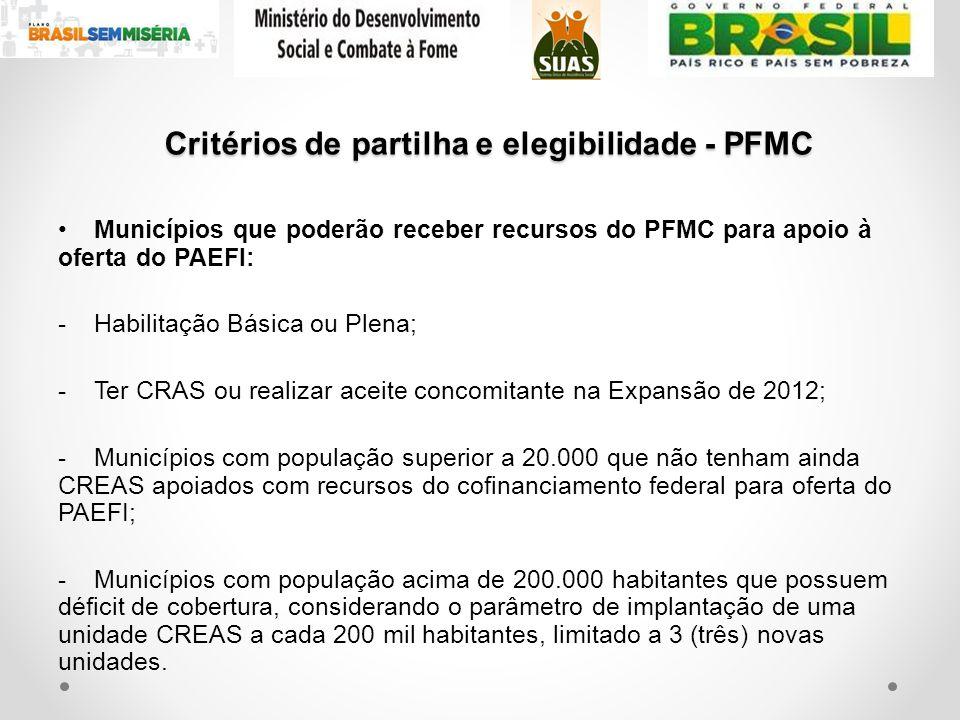 Critérios de partilha e elegibilidade - PFMC Municípios que poderão receber recursos do PFMC para apoio à oferta do PAEFI: -Habilitação Básica ou Plen