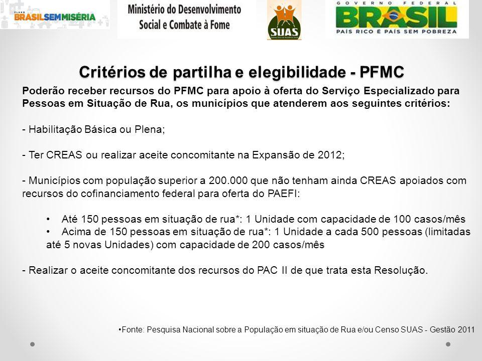 Poderão receber recursos do PFMC para apoio à oferta do Serviço Especializado para Pessoas em Situação de Rua, os municípios que atenderem aos seguint