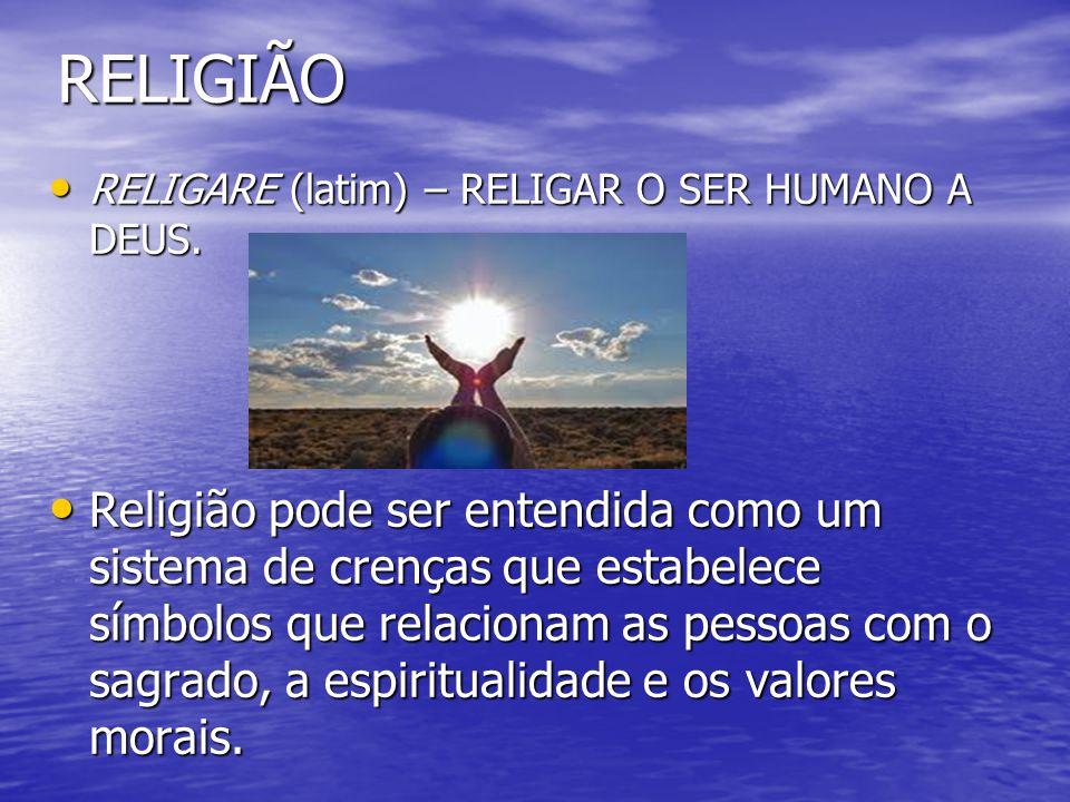 RELIGIÃO RELIGARE (latim) – RELIGAR O SER HUMANO A DEUS. RELIGARE (latim) – RELIGAR O SER HUMANO A DEUS. Religião pode ser entendida como um sistema d