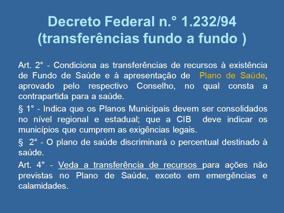 Decreto Federal n.° 1.232/94 (transferências fundo a fundo ) Art. 2° - Condiciona as transferências de recursos à existência de Fundo de Saúde e à apr