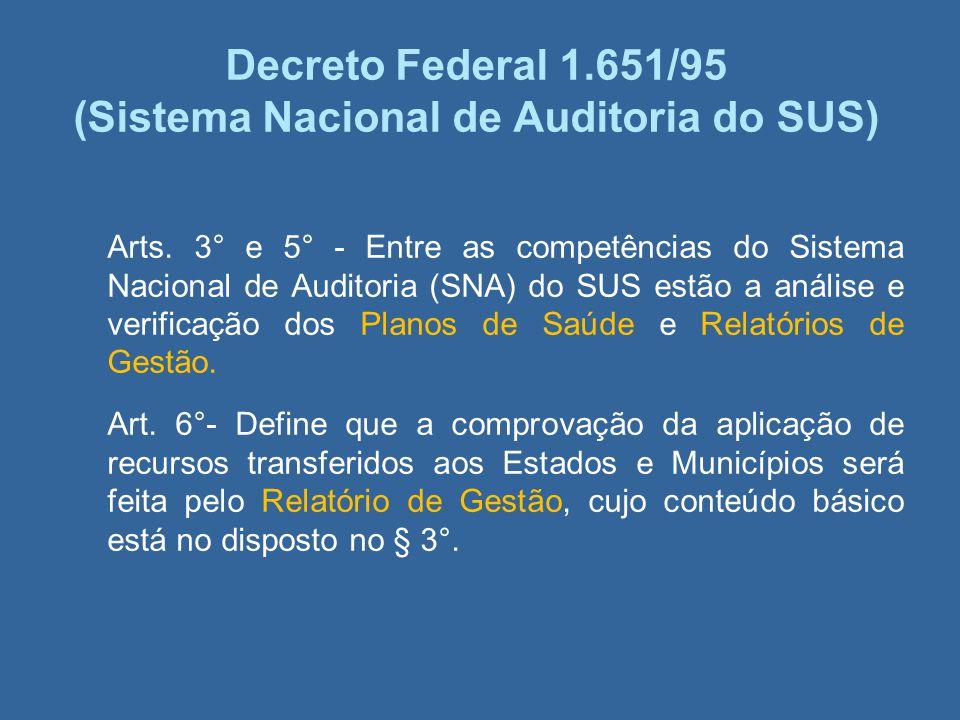 Decreto Federal 1.651/95 (Sistema Nacional de Auditoria do SUS) Arts. 3° e 5° - Entre as competências do Sistema Nacional de Auditoria (SNA) do SUS es