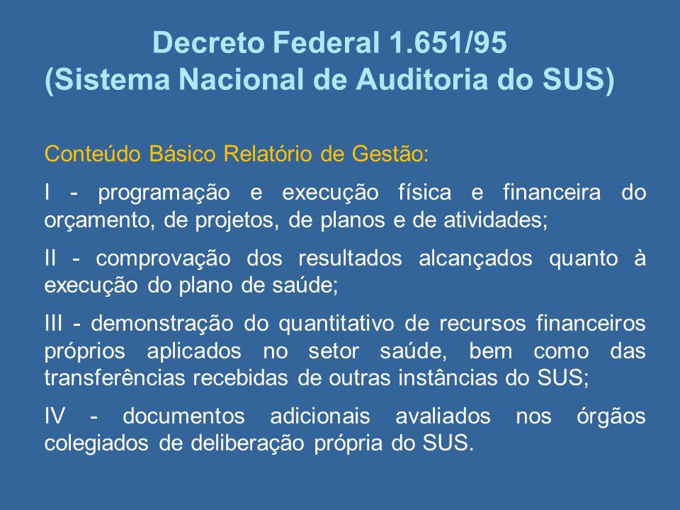 Decreto Federal 1.651/95 (Sistema Nacional de Auditoria do SUS) Conteúdo Básico Relatório de Gestão: I - programação e execução física e financeira do