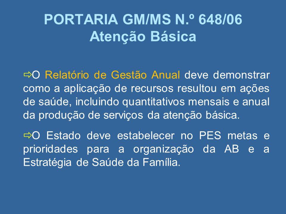 PORTARIA GM/MS N.º 648/06 Atenção Básica O Relatório de Gestão Anual deve demonstrar como a aplicação de recursos resultou em ações de saúde, incluind