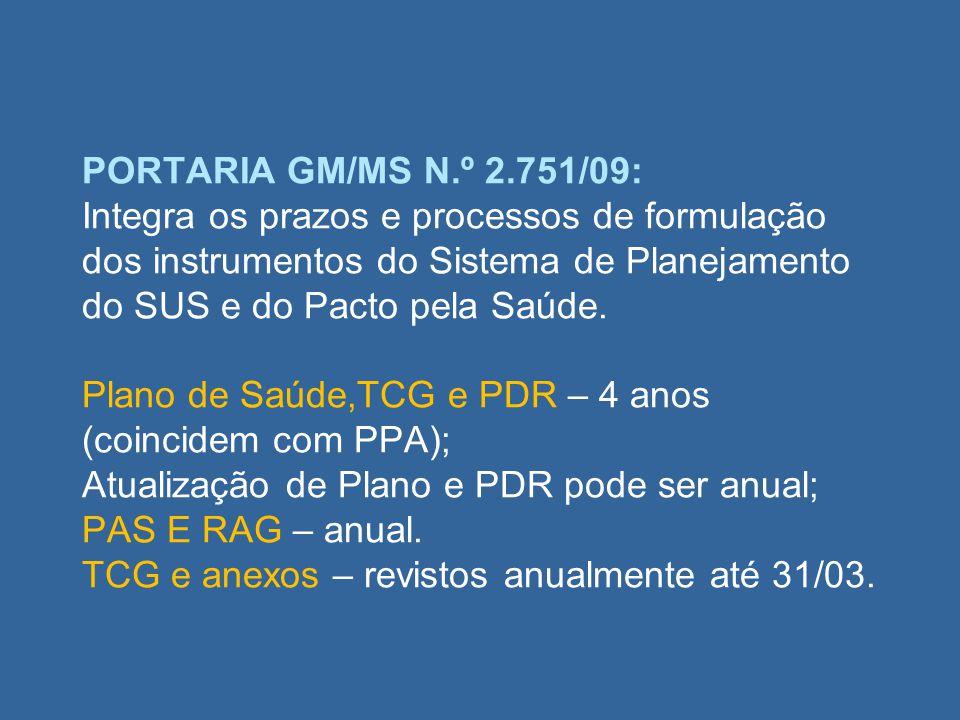 PORTARIA GM/MS N.º 2.751/09: Integra os prazos e processos de formulação dos instrumentos do Sistema de Planejamento do SUS e do Pacto pela Saúde. Pla