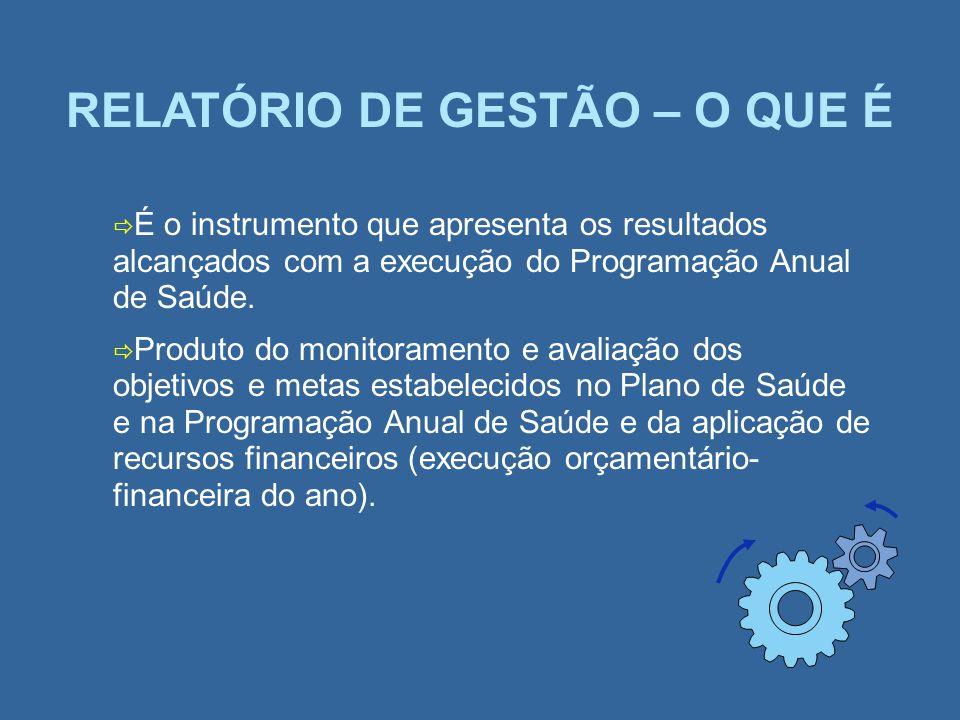 RELATÓRIO DE GESTÃO – O QUE É É o instrumento que apresenta os resultados alcançados com a execução do Programação Anual de Saúde. Produto do monitora
