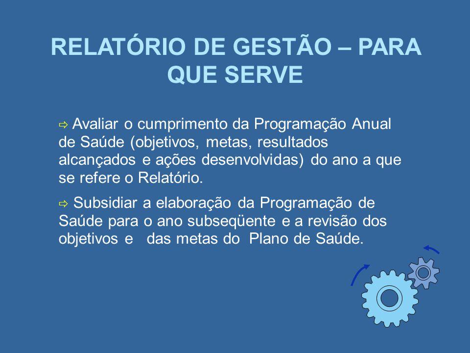 RELATÓRIO DE GESTÃO – PARA QUE SERVE Avaliar o cumprimento da Programação Anual de Saúde (objetivos, metas, resultados alcançados e ações desenvolvida