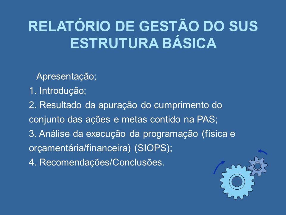 RELATÓRIO DE GESTÃO DO SUS ESTRUTURA BÁSICA Apresentação; 1. Introdução; 2. Resultado da apuração do cumprimento do conjunto das ações e metas contido