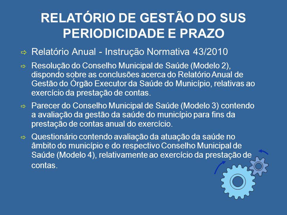 RELATÓRIO DE GESTÃO DO SUS PERIODICIDADE E PRAZO Relatório Anual - Instrução Normativa 43/2010 Resolução do Conselho Municipal de Saúde (Modelo 2), di