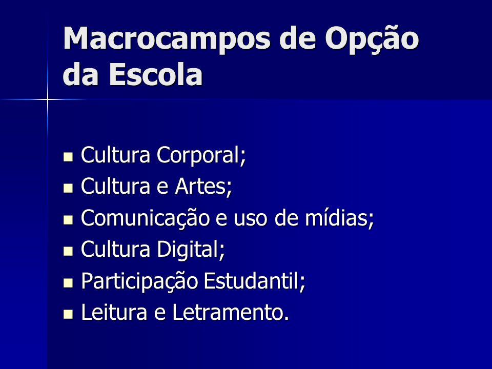 Macrocampos de Opção da Escola Cultura Corporal; Cultura Corporal; Cultura e Artes; Cultura e Artes; Comunicação e uso de mídias; Comunicação e uso de