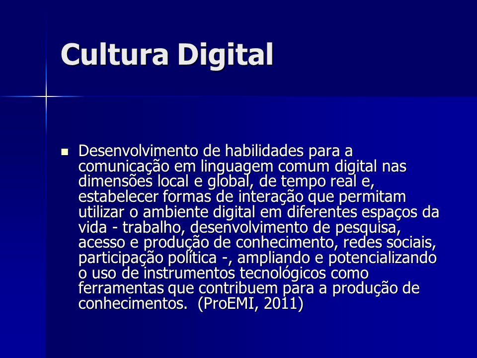Cultura Digital Desenvolvimento de habilidades para a comunicação em linguagem comum digital nas dimensões local e global, de tempo real e, estabelece