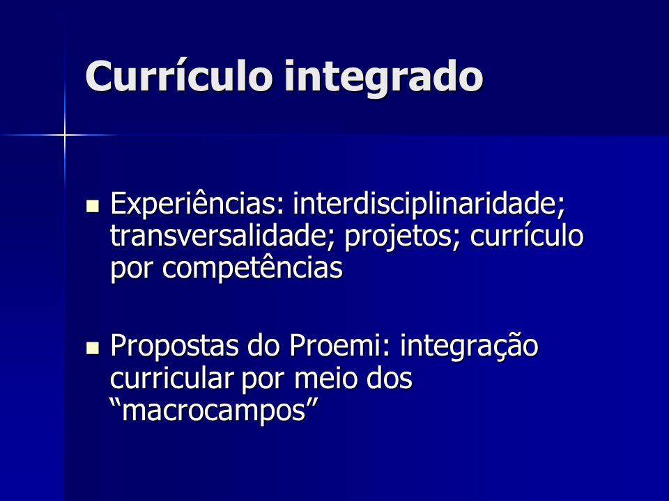 Currículo integrado Experiências: interdisciplinaridade; transversalidade; projetos; currículo por competências Experiências: interdisciplinaridade; t