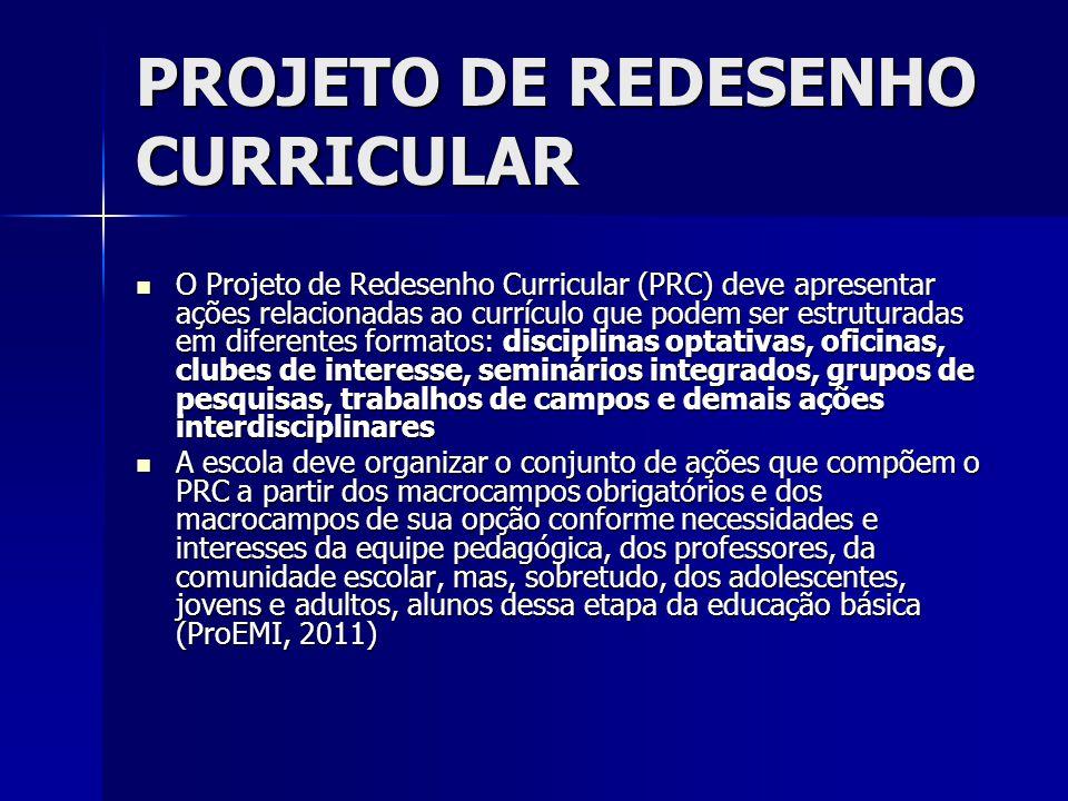 PROJETO DE REDESENHO CURRICULAR O Projeto de Redesenho Curricular (PRC) deve apresentar ações relacionadas ao currículo que podem ser estruturadas em
