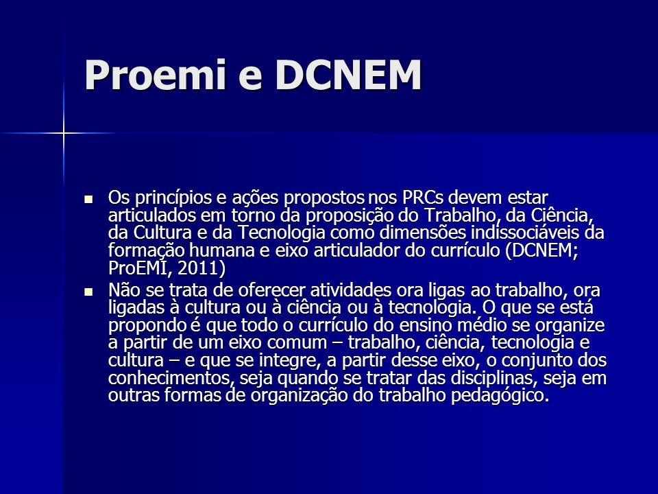 Proemi e DCNEM Os princípios e ações propostos nos PRCs devem estar articulados em torno da proposição do Trabalho, da Ciência, da Cultura e da Tecnol