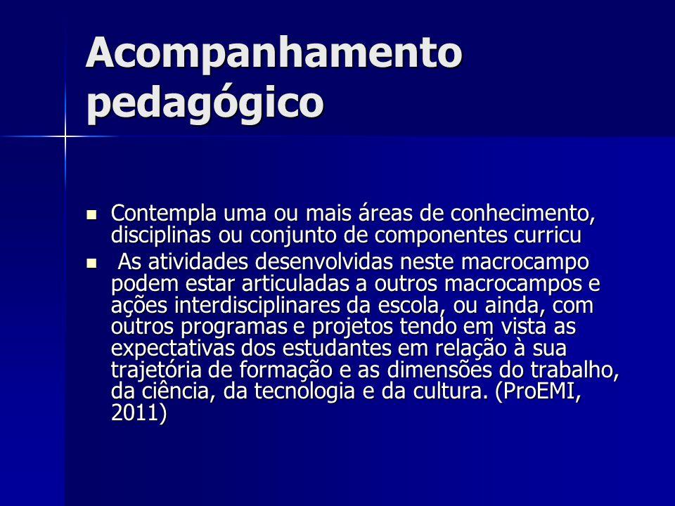 Acompanhamento pedagógico Contempla uma ou mais áreas de conhecimento, disciplinas ou conjunto de componentes curricu Contempla uma ou mais áreas de c