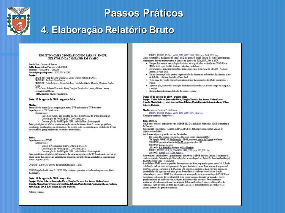 Passos Práticos 4.Elaboração Relatório Bruto