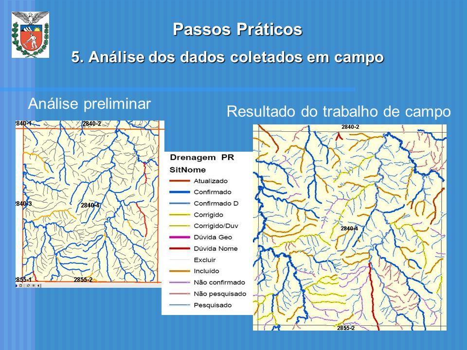 Análise preliminar Resultado do trabalho de campo Passos Práticos 5.Análise dos dados coletados em campo