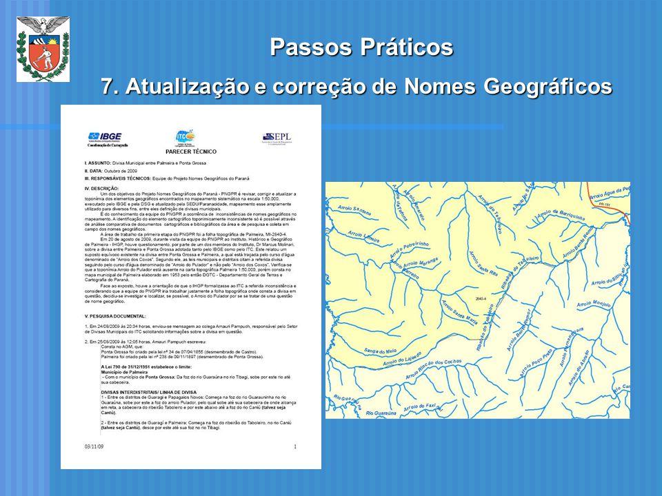 Passos Práticos 7.Atualização e correção de Nomes Geográficos