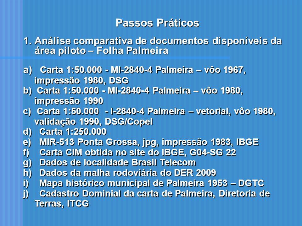 Passos Práticos 1.Análise comparativa de documentos disponíveis da área piloto – Folha Palmeira a) Carta 1:50.000 - MI-2840-4 Palmeira – vôo 1967, imp