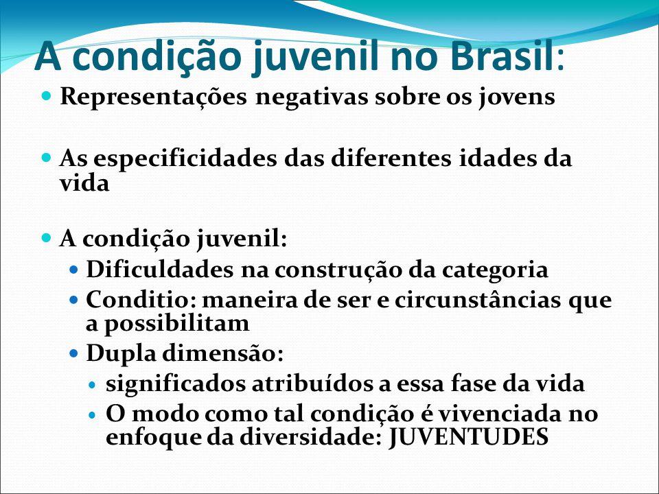 A condição juvenil no Brasil: Representações negativas sobre os jovens As especificidades das diferentes idades da vida A condição juvenil: Dificuldad