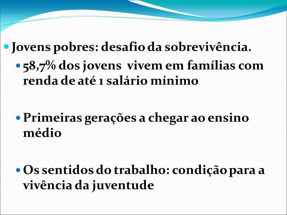 Jovens pobres: desafio da sobrevivência. 58,7% dos jovens vivem em famílias com renda de até 1 salário mínimo Primeiras gerações a chegar ao ensino mé