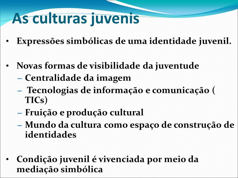 As culturas juvenis Expressões simbólicas de uma identidade juvenil. Novas formas de visibilidade da juventude – Centralidade da imagem – Tecnologias