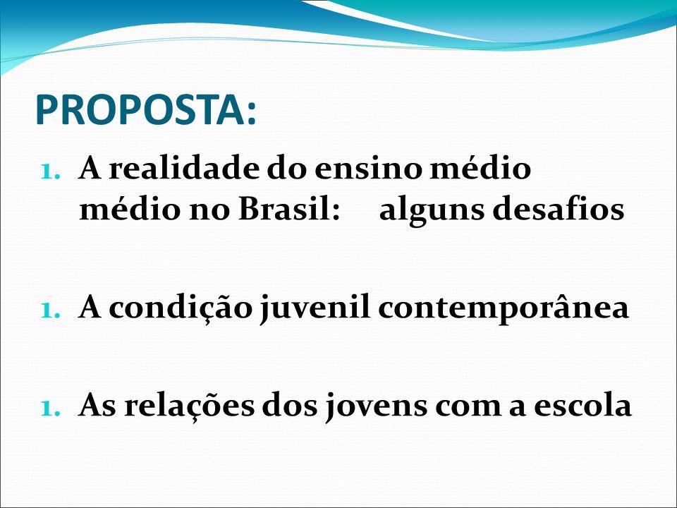 PROPOSTA: 1. A realidade do ensino médio médio no Brasil: alguns desafios 1. A condição juvenil contemporânea 1. As relações dos jovens com a escola