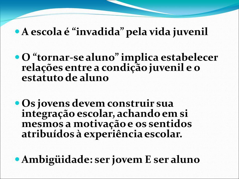 A escola é invadida pela vida juvenil O tornar-se aluno implica estabelecer relações entre a condição juvenil e o estatuto de aluno Os jovens devem co