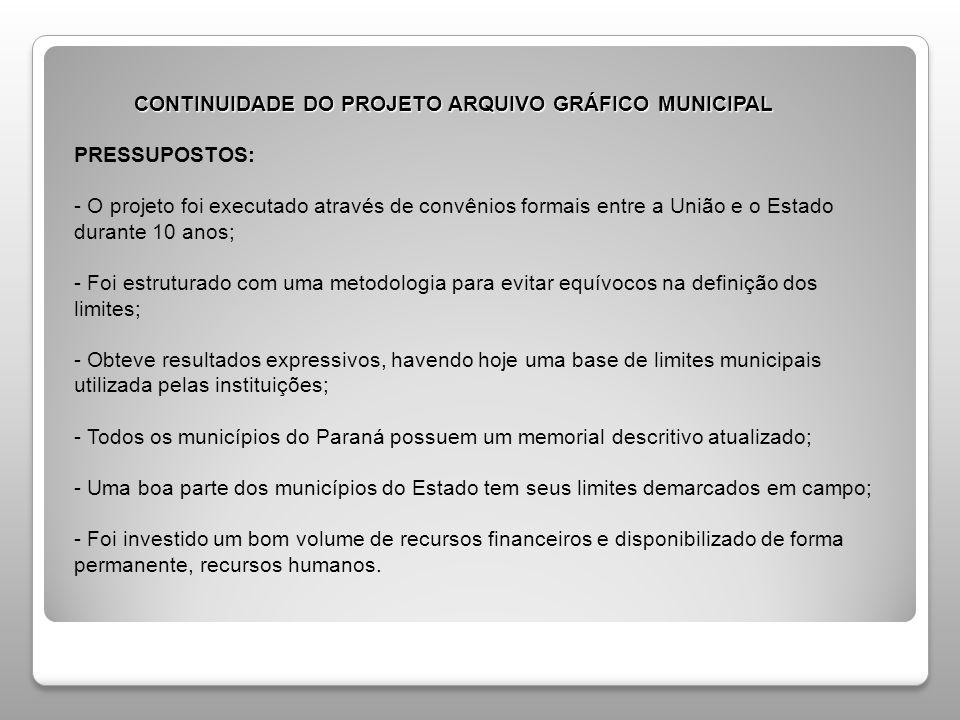 CONTINUIDADE DO PROJETO ARQUIVO GRÁFICO MUNICIPAL CONTINUIDADE DO PROJETO ARQUIVO GRÁFICO MUNICIPAL PRESSUPOSTOS: - O projeto foi executado através de